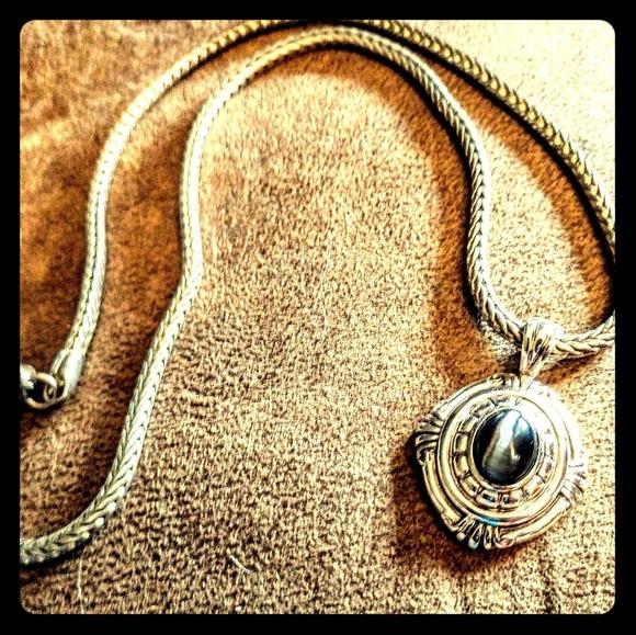 Silver Photo Picture Pendant Prismatic Blue Eye Art Jewellery Cat Eye Necklace